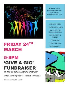 'Give a Gig' Fundraiser in aid of Youth Music Charity @ Waltham Forest Community Hub | England | United Kingdom